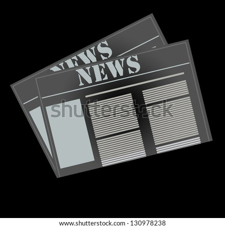 newspaper icon, business news - stock photo
