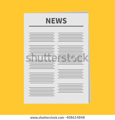 Newspaper icon Flat design Isolated Yellow background  - stock photo
