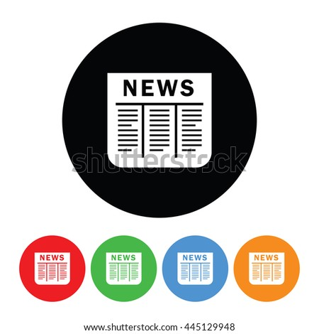 Newspaper Icon in Four Colors.  Raster Version - stock photo