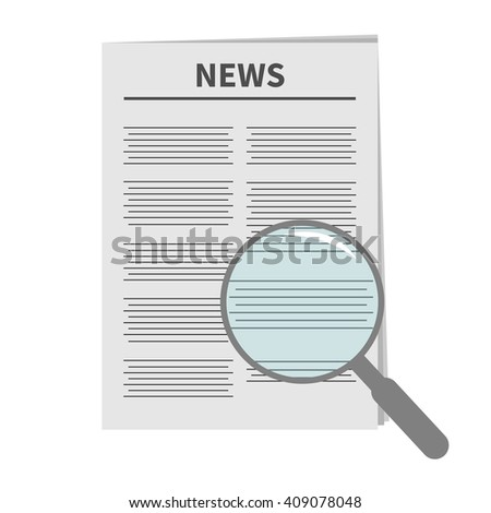 Newspaper icon Optic glass instrument Magnifier Search Flat design Isolated White background  - stock photo