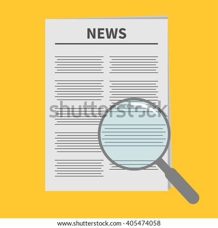 Newspaper icon Optic glass instrument Magnifier Search Flat design Isolated Yellow background - stock photo