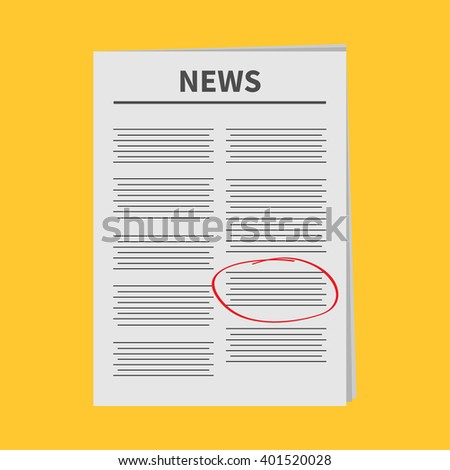 Newspaper icon Red pen skrible mark Flat design Isolated Yellow background White background - stock photo