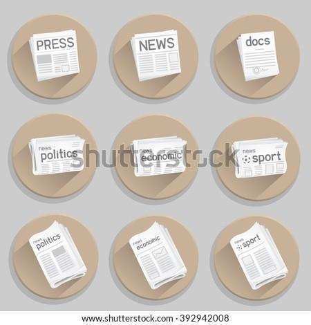 Newspaper icon set. Press collection on white background. News politics economic sport. Docs icon as a bonus - stock photo