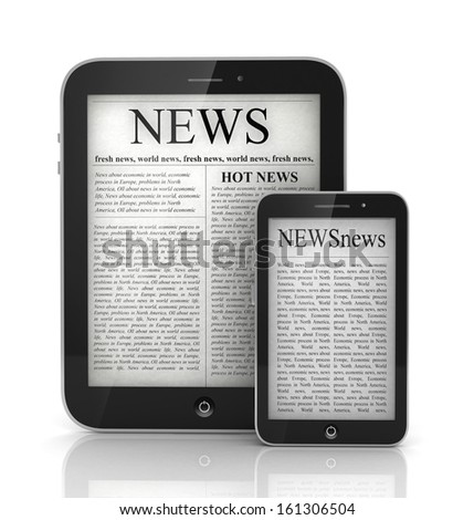 newspaper in  tablet and mobile smart phone, 3d - stock photo