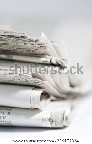 newspaper isolated on white background - stock photo