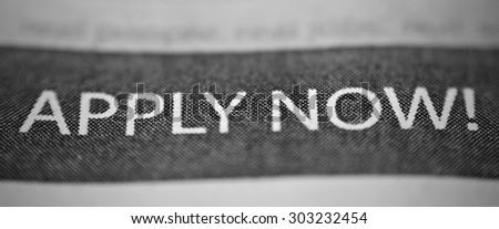 Newspaper Job Application Advertisement - stock photo