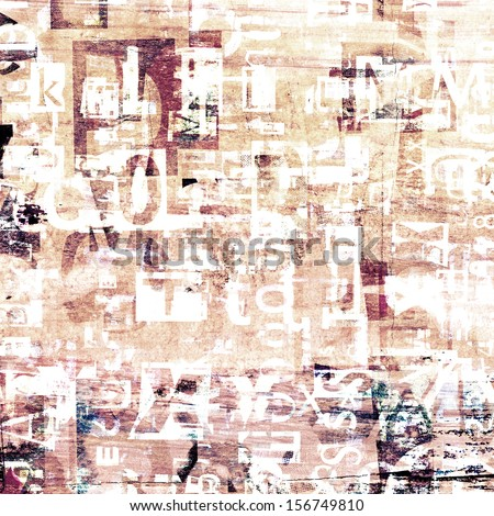 newspaper, magazine grunge collage letters background - stock photo