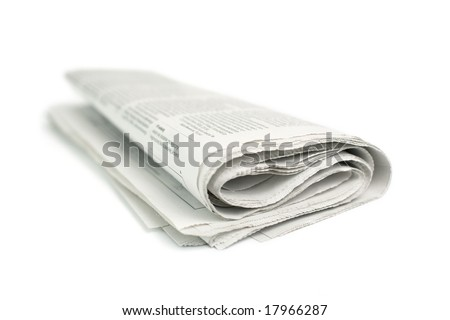 newspaper on white background