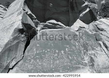 Newspaper Rock State Historic Monument in Utah, USA. One of largest known collections of petroglyphs. - stock photo