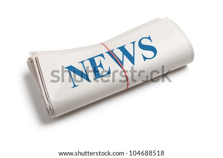 Newspaper roll with white background - stock photo