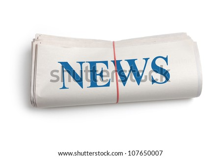Newspaper roll with white background