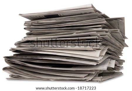 newspaper stack with clipping path