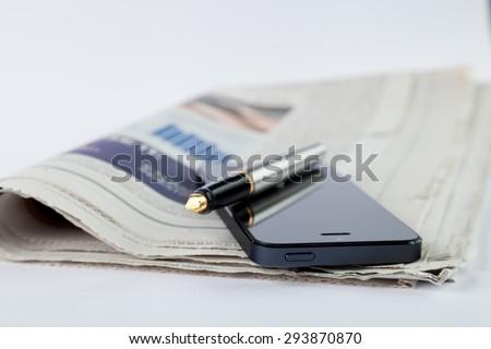 Newspaper, The Media, Journalist. - stock photo