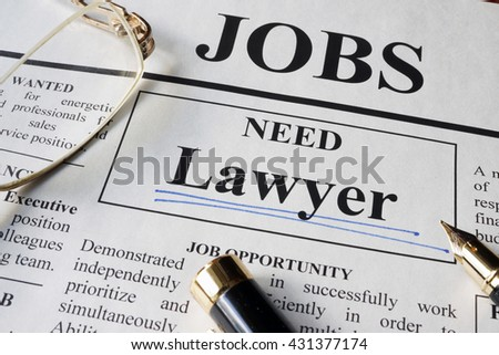 Newspaper with ads for vacancy Lawyer. Employment concept. - stock photo