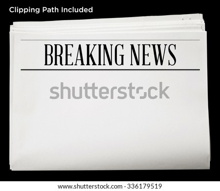 Newspaper Breaking News Headline Blank Content Stock Photo Royalty