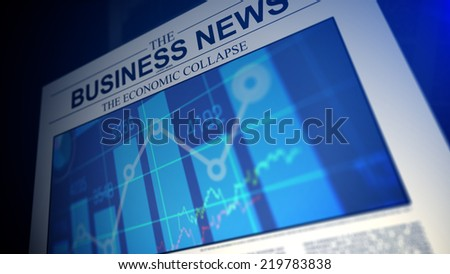 Newspaper with business news titles and stock market chars.