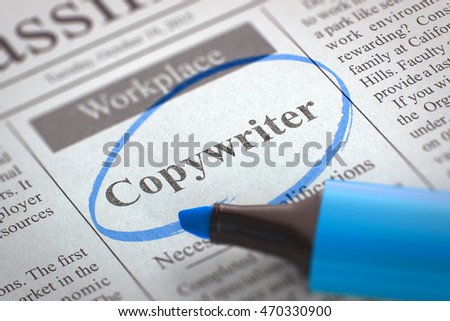 Newspaper with Job Vacancy Copywriter. Blurred Image. Selective focus. Job Seeking Concept. 3D Rendering.