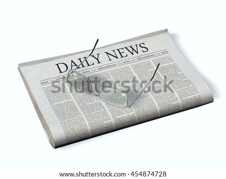Newspaper with the headline Daily News - 3d rendering