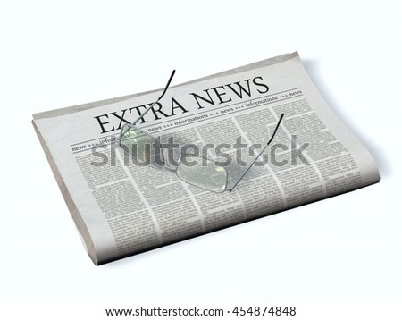 Newspaper with the headline Extra News - 3d rendering