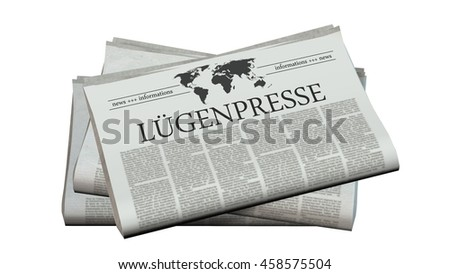 newspaper with the headline lying press - 3d rendering