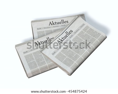 Newspaper with the headline News - 3d rendering