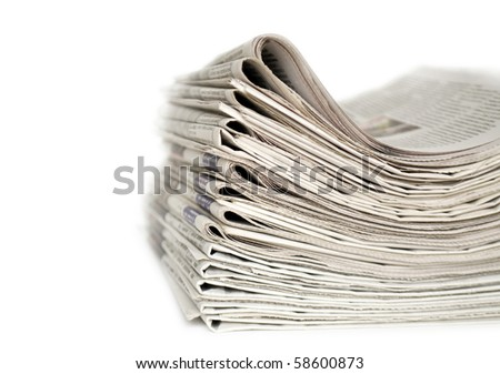 newspapers isolated on white