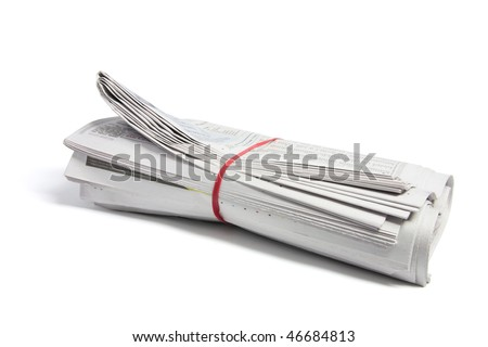 Newspapers on Isolated White Background - stock photo