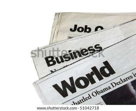 Newspapers on white background - stock photo