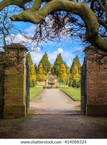 NEWSTEAD, ENGLAND - APRIL 30: HDR image of entrance gate to The Rose Gardens. At Newstead Abbey, Newstead, Nottinghamshire, England. On 30th April 2016.