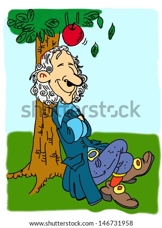 Newton and the falling apple - stock photo