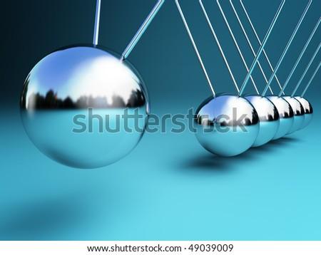 newton cradle 3d ballancing balls fine background - stock photo
