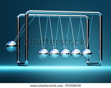 newton cradle fine 3d image background - stock photo