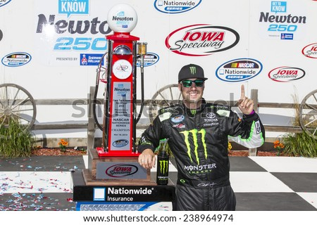 Newton, IA - May 18, 2014:  Sam Hornish Jr (54) wins the Get To Know Newton 250 at Iowa Speedway in Newton, IA. - stock photo