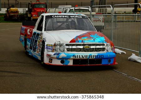 Newton Iowa, USA - July 11, 2014: NASCAR Camping World Truck Series, American Ethanol 200. Iowa Speedway. 08 Chris Eggleston, Chevrolet, SS Green Light Racing
