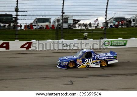 Newton Iowa, USA - July 11, 2014: NASCAR Camping World Truck Series, American Ethanol 200. Iowa Speedway. 29 Ryan Blaney, Ford, Brad Keselowski Racing - stock photo
