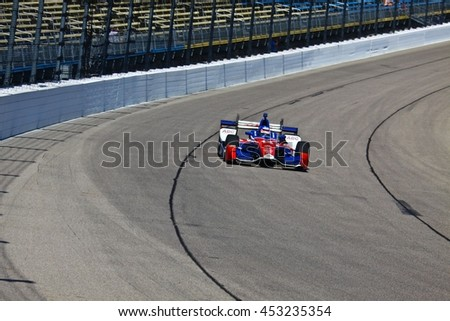 Newton, Iowa USA - July 9, 2016: Verizon IndyCar Series Iowa Corn Indy 300. Race drivers and teams practice before the race. Takuma Sato #14, A.J. Foyt Enterprises, ABC Supply