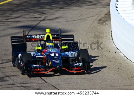 Newton, Iowa USA - July 9, 2016: Verizon IndyCar Series Iowa Corn Indy 300. Race drivers and teams practice before the race. Sebastien Bourdais #11, KV Racing Technology, Hydroxycut