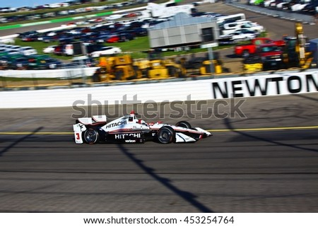Newton, Iowa USA - July 9, 2016: Verizon IndyCar Series Iowa Corn Indy 300. Race drivers and teams practice before the race. Helio Castroneves #3, Team Penske, Hitachi