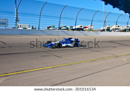 Newton, Iowa USA - July 17, 2015: Verizon IndyCar Series Iowa Corn Indy 300. 19 Tristan Vautier Corenc, France Dale Coyne Racing Honda. Practice action on track.