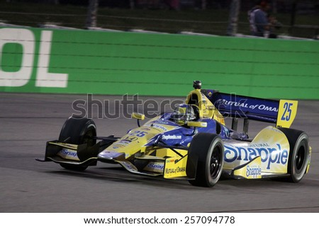 Newton Iowa, USA - July 12, 2014: Verizon Indycar Series Iowa Corn 300 on track racing action. 25 Marco Andretti Snapple Honda