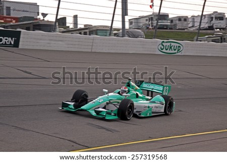 Newton Iowa, USA - July 11, 2014: Verizon Indycar Series Iowa Corn 300 practice and qualifying action. 83 Charlie Kimball Levemir FlexTouch Chevrolet