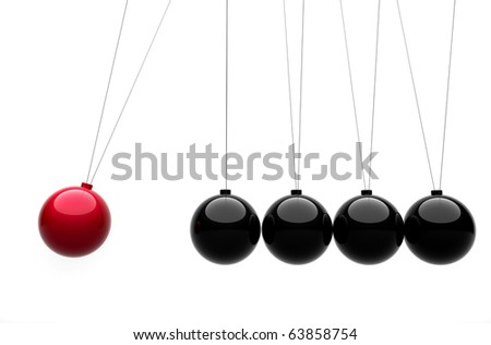 Newton's cradle concept - this is a 3d render illustration - stock photo