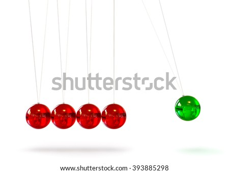 Newton's Cradle - Five Red and Green Colored 3D Glass Pendulum - Front View. Hanging Glossy Pendulum with Reflections on Surface - Last Green Sphere in Action - Isolated on White Background. - stock photo