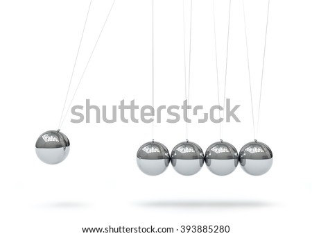 Newton's Cradle - Five Silver Chrome 3D Metallic Pendulum in Raw - Front View - Isolated on White Background. Hanging Pendulum with Reflections on Surface - Horizontally - First Sphere in Action. - stock photo