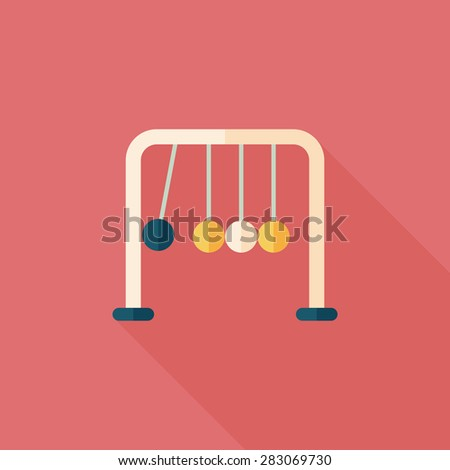 Newton's Cradle flat icon with long shadow - stock photo