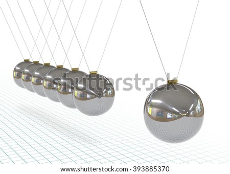Newton's Cradle - Metallic, Silver, Chrome 3D Pendulum in Raw with Graph Paper Background. Perspective Hanging Polished Pendulum with Reflections on Surface. Iron, Gray Spheres. - stock photo