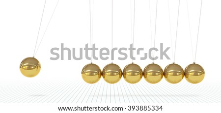 Newton's Cradle - Seven Metallic, Golden 3D Pendulum in Raw - Front View.Hanging Polished Pendulum with Reflections on Surface and Graph Paper Background - Horizontal Panorama, Banner. - stock photo