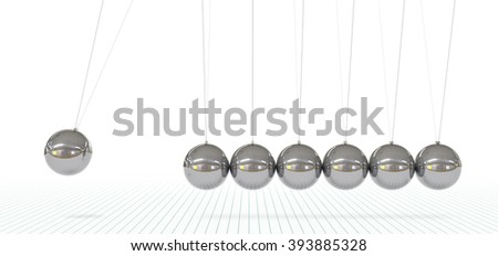 Newton's Cradle - Seven Metallic, Silver, Chrome 3D Pendulum in Raw - Front View.Hanging Polished Pendulum with Reflections on Surface and Graph Paper Background - Horizontal Panorama, Banner. - stock photo