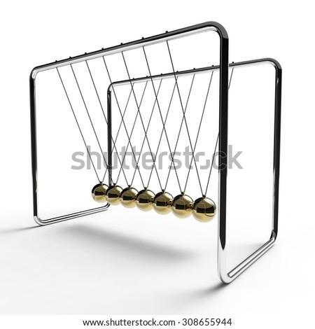 Newton's cradle with gold colored balls suspended from metal frame on a white background - stock photo