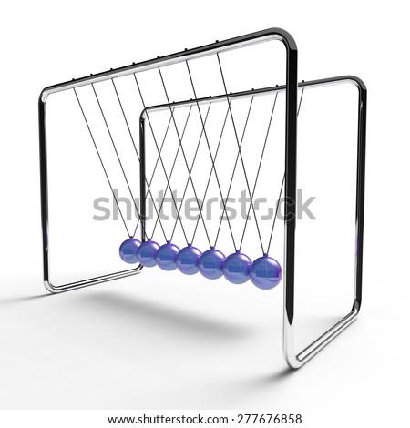 Newton's cradle with indigo blue colored balls suspended from metal frame on a white background - stock photo